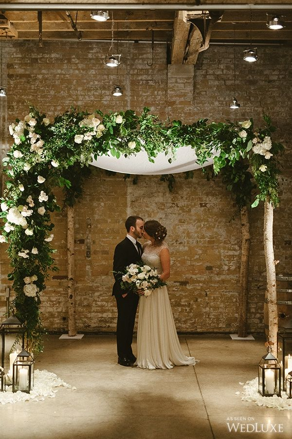 WedLuxe – The Bride wore Reem Acra at this Boiler House Loft wedding | Photography by: Scarlet O'Neill Follow @WedLuxe for more wedding inspiration!