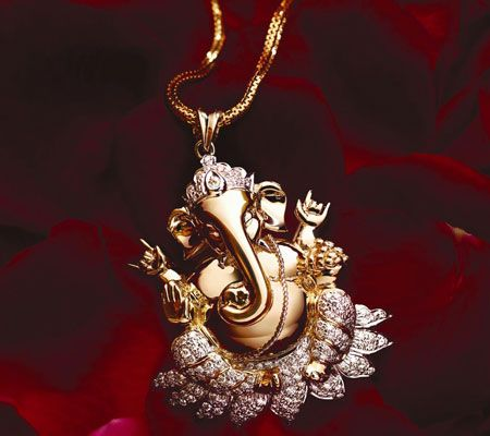 TBZ Jewellers. Diamond and gold Lord Ganesha Pendant.