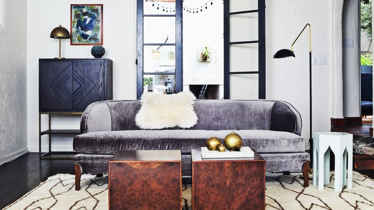 Sofas 101: The Ultimate Guide to Shopping for a Sofa // grey velvet sofa, black and white: Lamps, Rooms Interiordesign, Douglas Sofas, Sofas Shops, Interiors Design, Gray Living Rooms, Interiordesign Livingroom, Grey Sofas, Midcentury Living