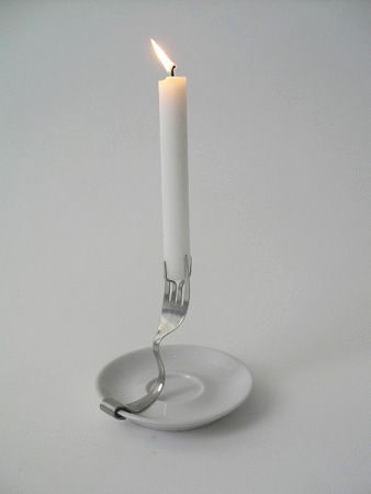 DIY candlestick made with a fork - so simple!