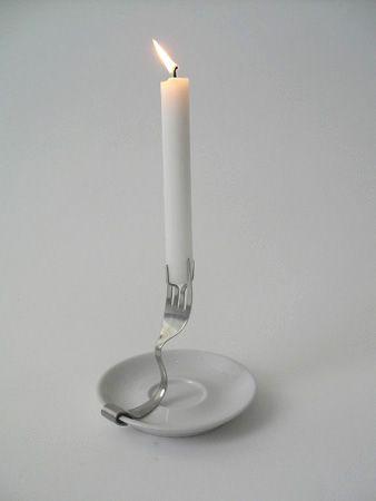 gebogene Gabel -> Kerzenhalter