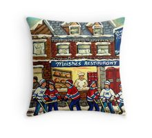 MOISHE'S RESTAURANT MONTREAL AND HOCKEY GAME PAINTINGS Throw Pillow