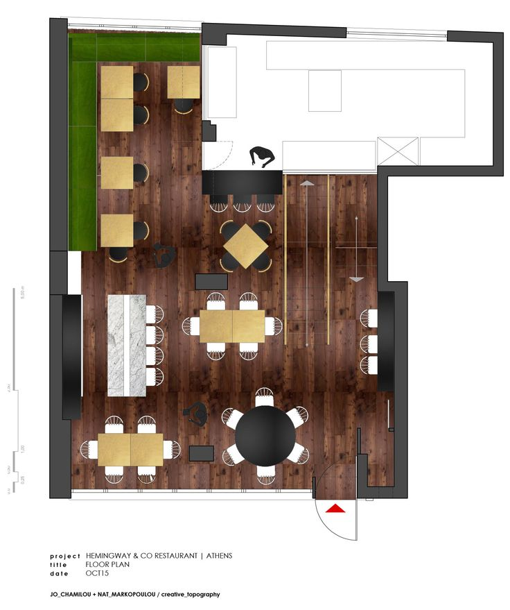 project_Hemingway & Co Restaurant, Athens | phase_Proposal | title_Floor plan | architects_JoNat Architects by Joanna Chamilou◦Natasa Markopoulou | year_2015