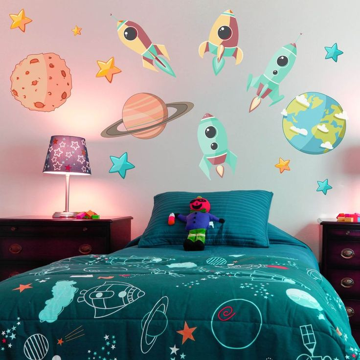 Space Rockets Planets Childrens Kids Large Full Colour Wall Art Sticker, SSC12