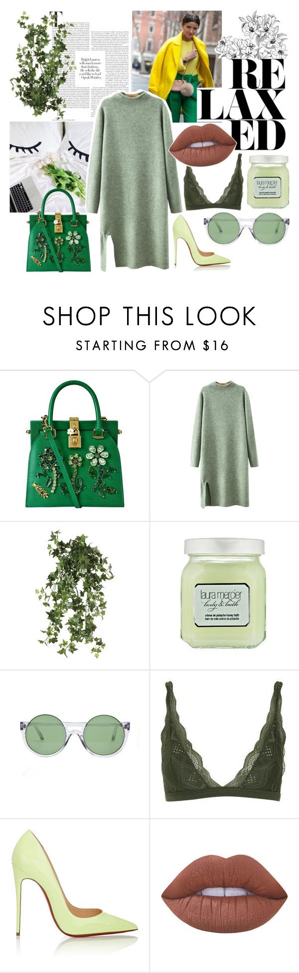 """""""Green Contest"""" by bliss-fashion on Polyvore featuring Dolce&Gabbana, Chicnova Fashion, OKA, Laura Mercier, Le Specs, Topshop, Christian Louboutin and Lime Crime"""
