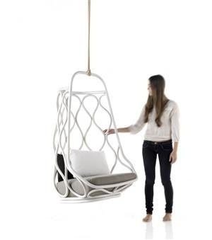 Always loved our hanging basket chair growing up- here is a cool one with a more modern twist. Love it!!
