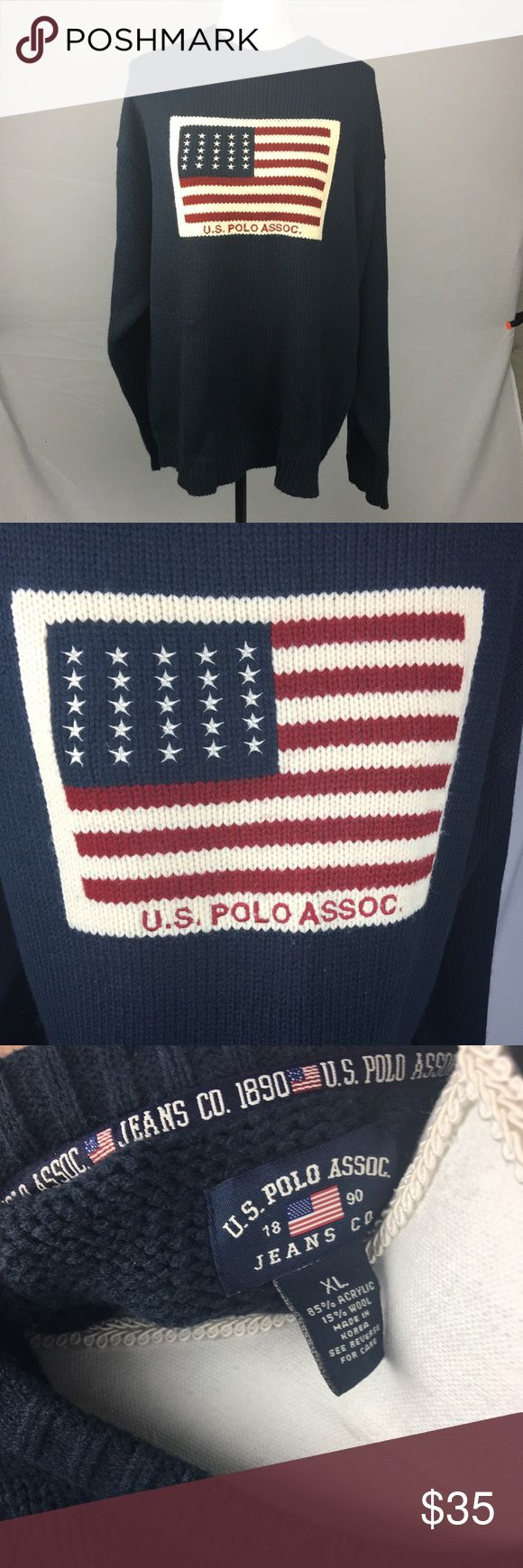 U.S. Polo Assoc. American Flag Sweater Great American pride sweater! This is a size XL. Show your Americana pride with this one!  This item has been inspected to signs of wear. Any signs of wear will be documented in the pictures. U.S. Polo Assn. Sweaters Crewneck