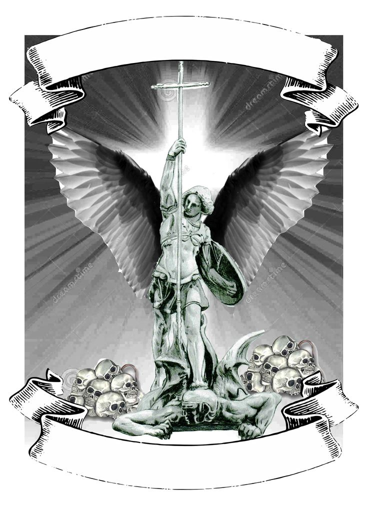 Saint Michael tattoo with cross