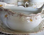Antique Late 1800's Victorian Gravy Boat And Saucer Yellow Roses Transferware By Henry Alcock Cobridge, England