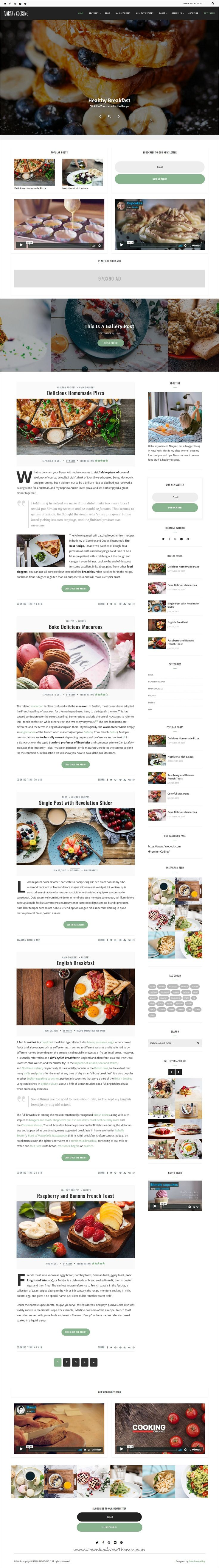 Narya is clean and modern design 6in1 responsive WordPress theme for #food #recipe #blog and magazine website download now..