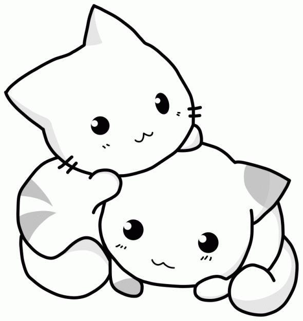 Маленькие котята | Раскраски с животными, Аниме кошки ...