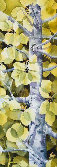 The shadowing is amazing! The entire piece is stunning!  (Aspen Leaves by Gail Alger Watercolor)