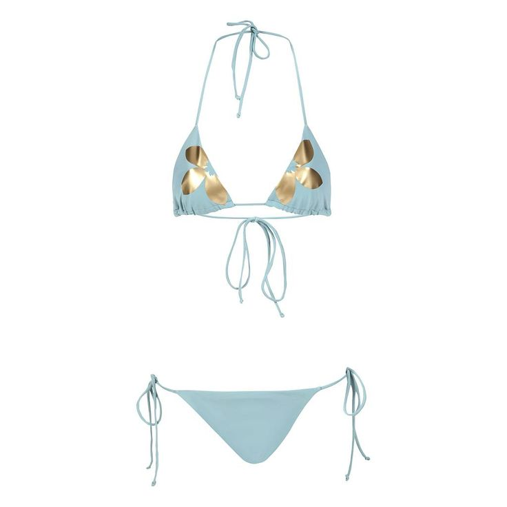 Bikini Amor Autumn&Gold. The elegant Grayish Blue combined with the Golden flower provide a guaranteed gorgeous look and feel.  #bikini #resortwear #amormondial
