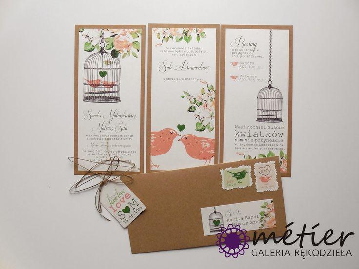 Zaproszenia ślubne www.metier.pl: Brzoskwiniowo-zielone zaproszenia ślubne w rustykalnym stylu