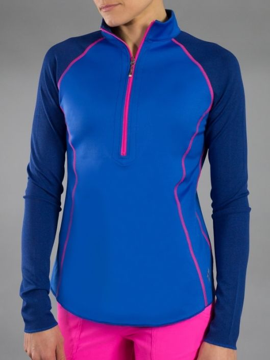 Napa Electric Blue JoFit Ladies & Plus Size Reversible Long Sleeve Mock Golf Shirt! More outfits at #lorisgolfshoppe