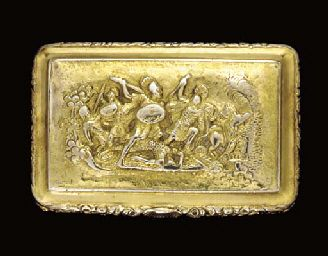 A REGENCY SILVER-GILT SNUFF-BOX - MARK OF THOMAS PEMBERTON AND ROBERT MITCHELL, LONDON, 1819  Estimate - $1,000 - $1,500  Price Realized - $1,195  Sales totals are hammer price plus buyer's premium and do not reflect costs, financing fees or application of buyer's or seller's credits.    Sale 1361     16 April 2004   New York, Rockefeller Plaza