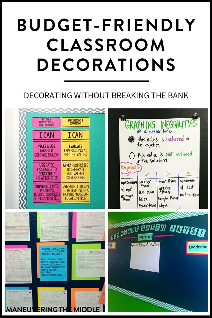 4 ideas to create classroom decorations on a budget.  No need to spend hundreds of dollars decorating your classroom.  Cheap and easy classroom decor! | http://maneuveringthemiddle.com