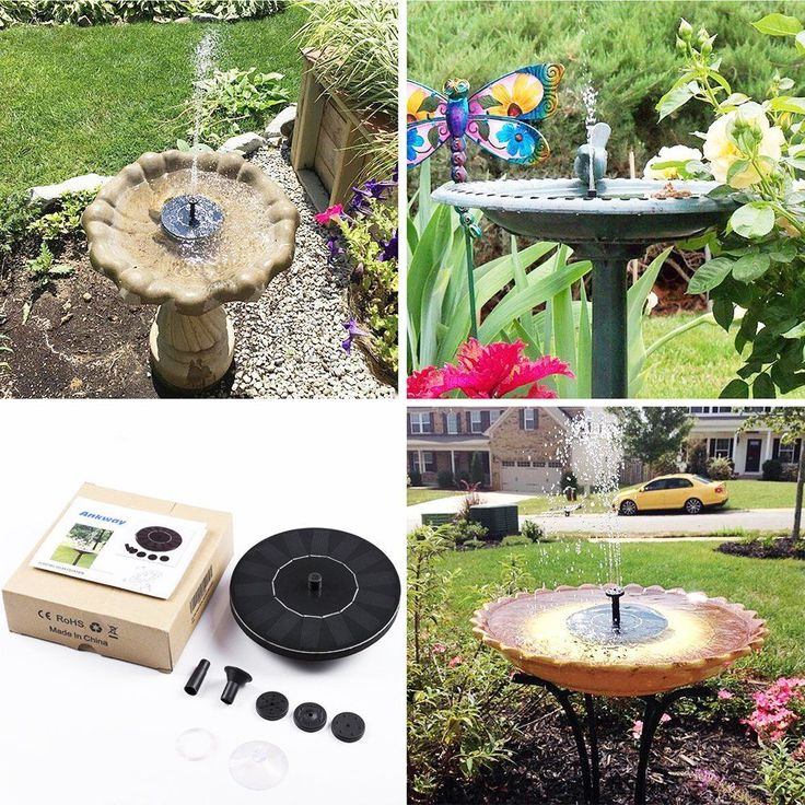 Solar Bird Bath Fountain Pumps Panel Kit Standing Solar Outdoor Water Fountain #PanelKit