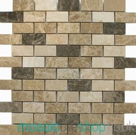 Brick Light Black This Mosaic Sheet Has A Mixture Of Brown And Beige Tiles With Polished Finished On Net Mesh Backing Inc Vat Per