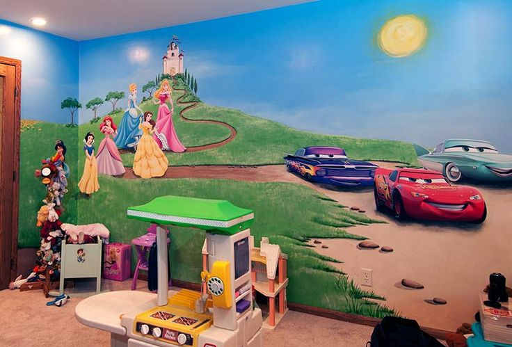 Children 39 s playroom mural with wall decals school toilet for Children wall mural ideas