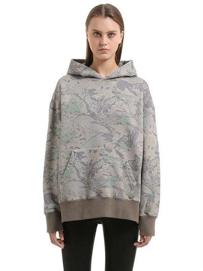 YEEZY Boxy Fit Camo French Terry Sweatshirt, Green/Grey. #yeezy #cloth #sweatshirts