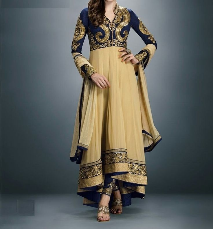 LookBollywood Beige Designer Anarkali Pattern Party Wear Salwar Kameez