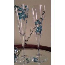Σετ 2 ποτήρια γάμου τουρκουάζ επιθυμία SET of 2 hand painted wedding champagne flutes Turquoise Desire