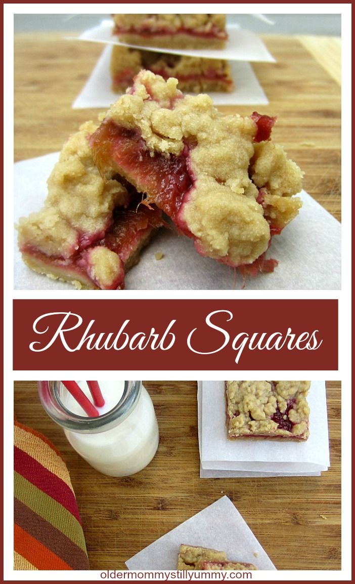 Delicious and Easy to Make Rhubarb Squares ~ http://oldermommystillyummy.com