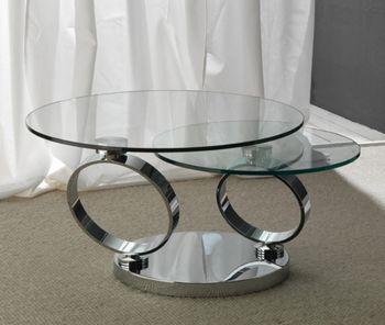 Table basse design GALACTICA en cristal transparent et acier inox avec bras articulés