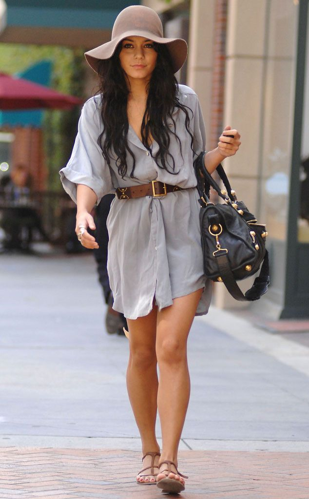 Less Is More from Vanessa Hudgens' Street Style  She keeps it simple with a belted shirt dress and nude suede hat, and thus achieves an effortlessly chic effect.