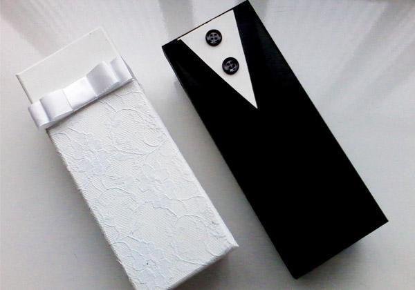 Caixas em MDF decoradas para lembrancinhas de casamento