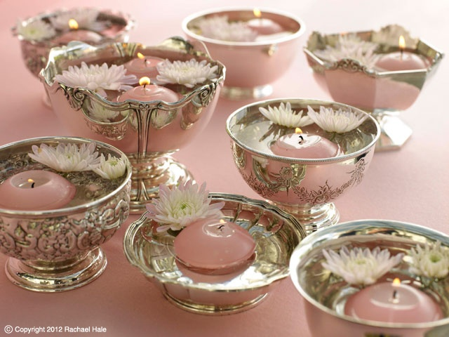Sandra Kaminski  #antique silver #floating candles #wedding flowers #wedding decoration #pink wedding