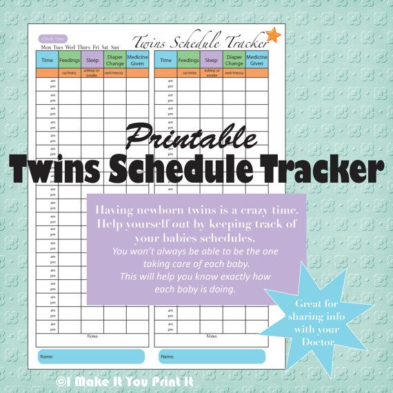 Printable Baby Schedule Tracker and Twins Schedule Tracker. Great gift idea for new moms!