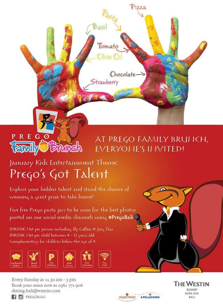 "Weekend is coming. Join our Sunday Family Brunch with the new theme of ""Prego's Got Talent""!  Explore your hidden talent and stand the chance of winning a great prize to take home.  And don't miss five Prego pasta jars to be won for the best photos posted on our social media channels using #PregoBali.  At Prego Family Brunch everyone's invited!"