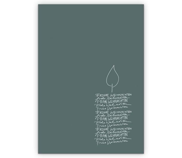 Edle Weihnachtskarte mit Kerze auf grau » Grusskarten Onlineshop 1agrusskarten.de