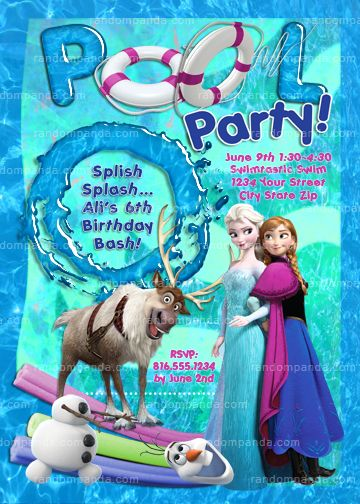 Disney S Frozen Invitation Elsa Birthday Frozen Pool