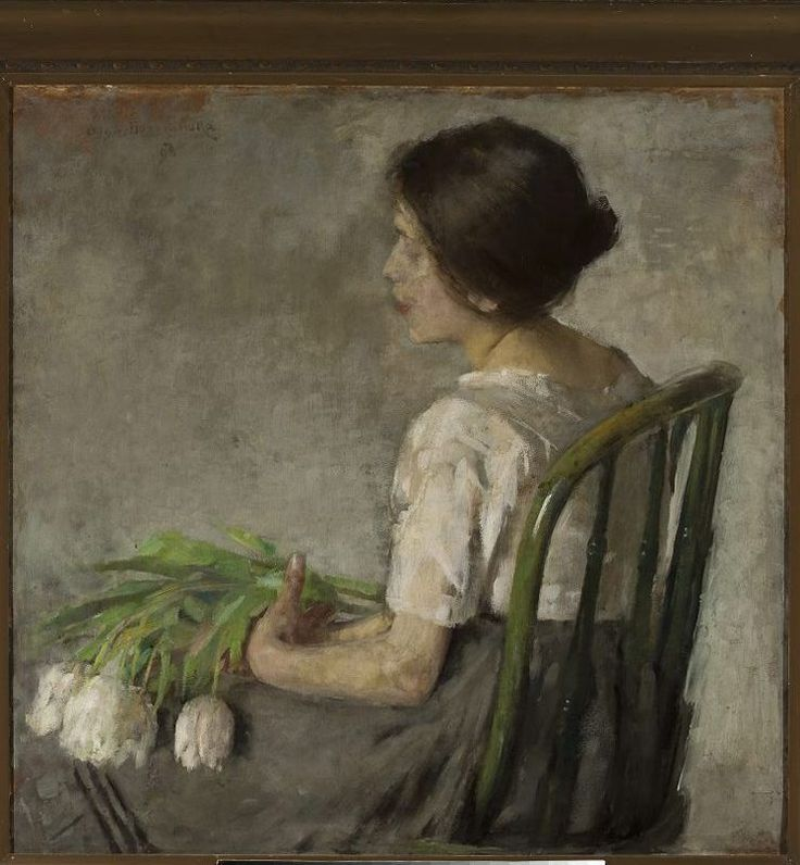 "Olga Boznańska ""Girl with white tulips"""