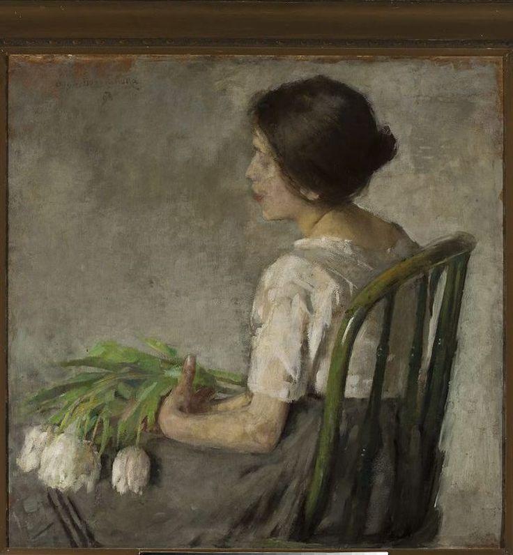 "Olga Boznańska ""Girl with white tulips"""