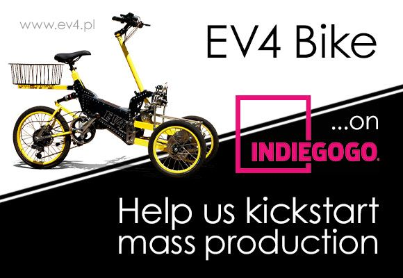 We are happy to announce that EV4 Bike is now available on crowdfunding portal Indiegogo. If you would like to support us in this campaign any form of help would be very appreciated. In return we offer a 25% discount on our products. #crowdfunding #electric #bike #tricycle #vehicle