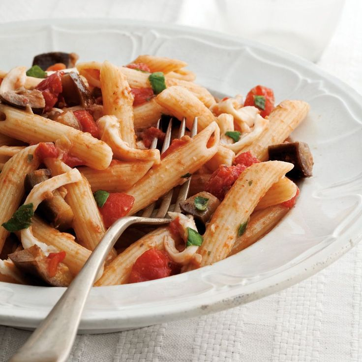 Penne with Eggplant, Basil and Mozzarella