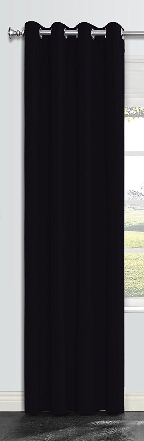 Onlyyou Thermal Blackout Curtains/ Window Treatments Grommet Top Insulated Drapes /Room Darkening Drapery Panel for Bedroom, Living Room, Kids Boy's Girl's Room - 1 Panel 52 x 72 Inch, Black(no Rod) *** Details can be found by clicking on the image. (This is an affiliate link and I receive a commission for the sales)