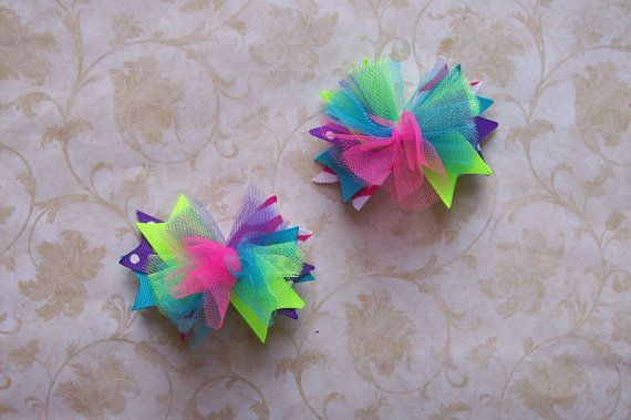 NEW Item---ULTRA MINI Over the Top Bows---Set of 2----Funky Brights---Pink, Neon Green, Turquoise, and Purple----3 inches. $7.00, via Etsy.