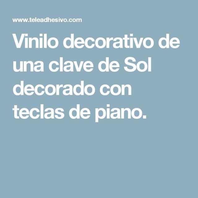 Vinilo decorativo de una clave de Sol decorado con teclas de piano.