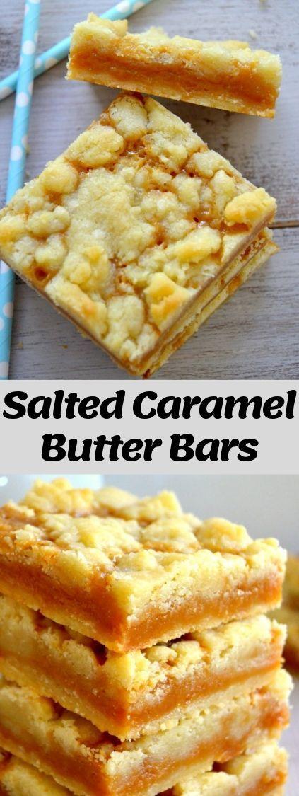 Salted Caramel Butter Bars are gooey, ultra butter…