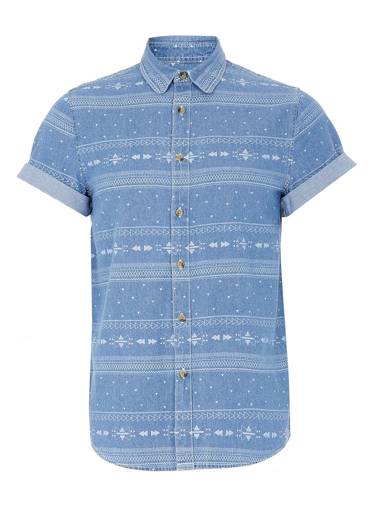 Blue Aztec Burnout Denim Shirt - Casual Shirts - Men's Shirts - Clothing - TOPMAN