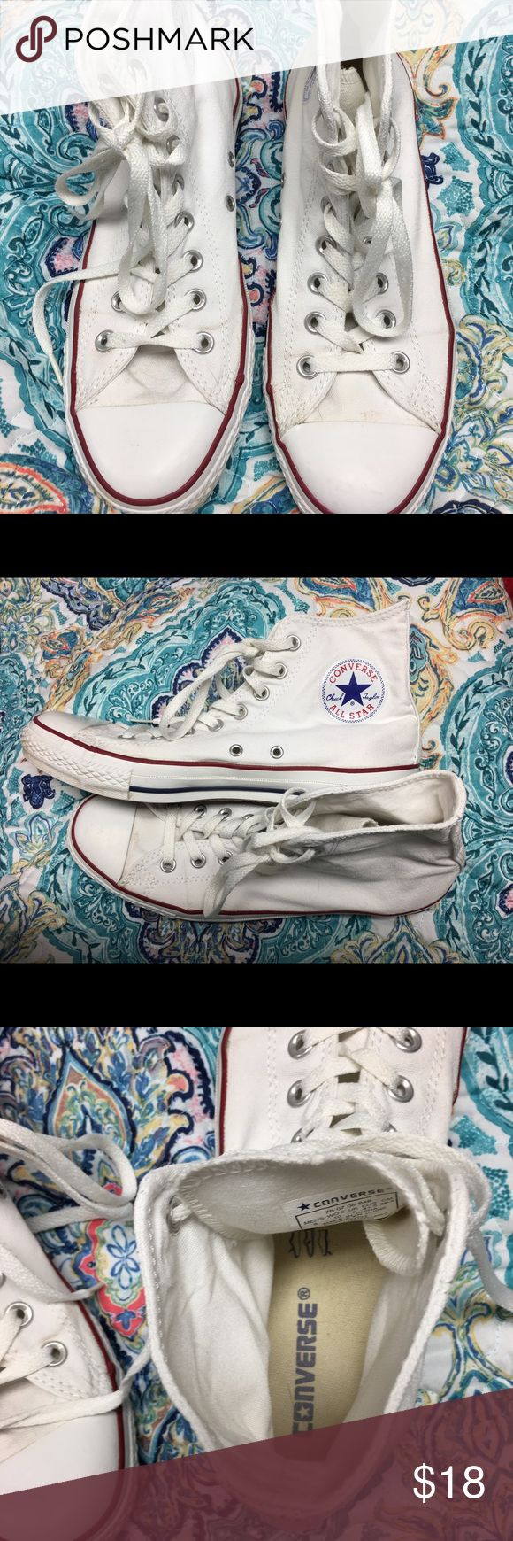 Converse All Star high tops sz men's 8 woman's 10 White Converse All Star high tops in men's size 8 or ladies 10. Gently used condition. Just a couple of spots on top. Smoke free home. Thanks for the interest and God Bless Converse Shoes Athletic Shoes