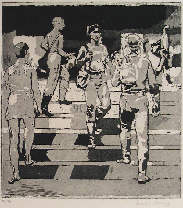 "Isabel Bishop. ""Entrance to Union Square."" 1981. Mezzotint."