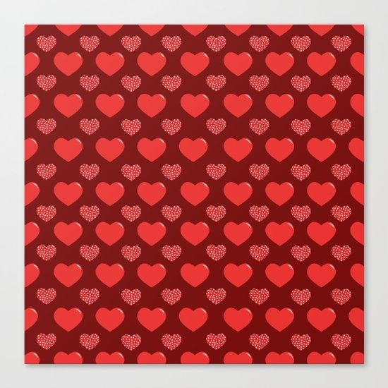 pattern love with red heart Canvas Print