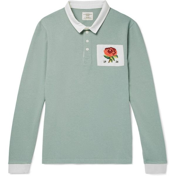Kent Curwen Appliquéd Cotton-Jersey Polo Shirt ($185) ❤ liked on Polyvore featuring men's fashion, men's clothing, men's shirts, men's polos, mens embroidered shirts, mens polo shirts, mens sport shirts, mens rose shirt and mens sports polo shirts