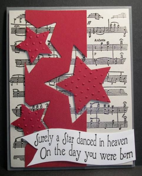 handmade card ... sheet music background ... red column with off the edge die cut stars ... fun look ...